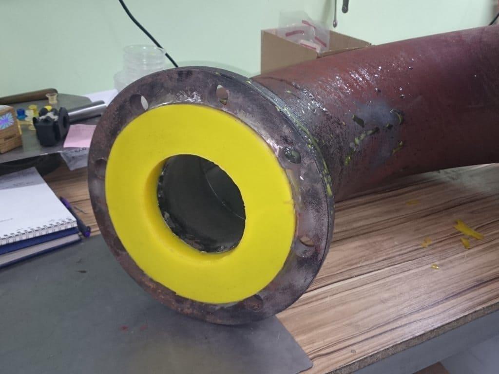 Гуммирование полиуретаном - отвод шламового насоса
